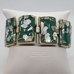 Vintage Green, White, & Gold Bracelet